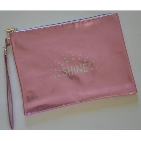 SHINE pochette plate, rose pastel glitter, avec poignée amovible irisée de paillettes 26x19 cm