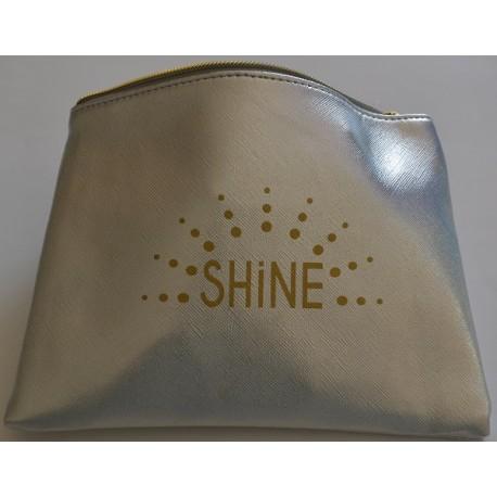 SHINE pochette plate, argent glitter, irisée de paillettes 20x15,50 cm