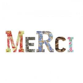 MERCI lettres en medium décorées auto-adhésives