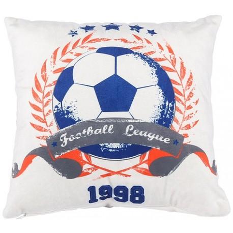 football coussin 30x30 d coration chambre ado imprim motif ballon rond bleu blanc d co. Black Bedroom Furniture Sets. Home Design Ideas