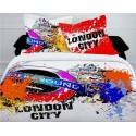LONDON CITY - housse de couette 240*220 cm decoration urbaine chambre ado - 2 taies d'oreiller - Parure lit 2 personnes