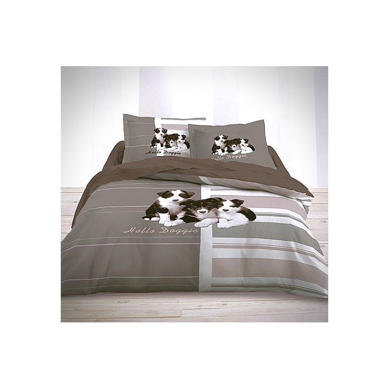 housse de couette 200x200 parure de lit london doggie. Black Bedroom Furniture Sets. Home Design Ideas