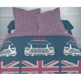 LONDON FLAG housse de couette 200x200 cm + 2 taies oreiller - Parure lit 2 personnes