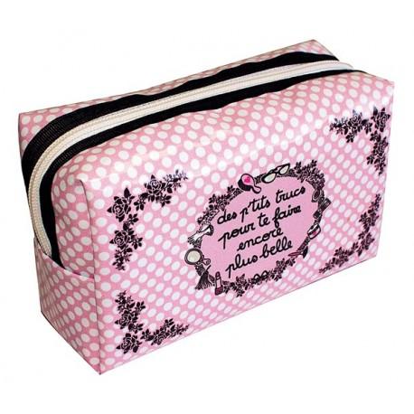 PLUS BELLE trousse de beauté motifs déco rose/noir pois blanc girly