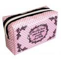 PLUS BELLE trousse de beauté rectangulaire motifs déco rose/noir pois blanc girly